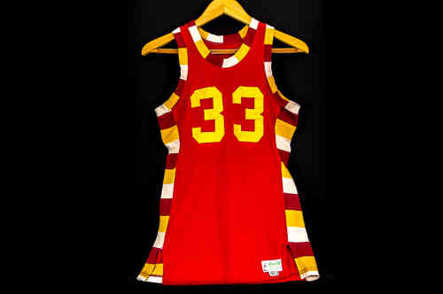 #33 Burgandy and Yellow Basketball Jersey