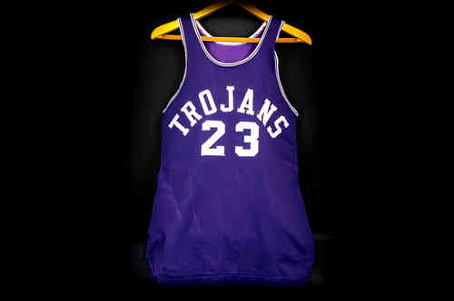 #23 Trojans Blue Rawlings Basketball Jersey