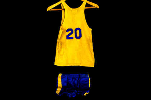 #20 Boys' Medium Blue and Gold Post Basketball Uniform Set