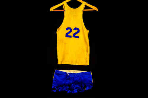 #22 Boys' Blue and Gold Post Basketball Uniform Set