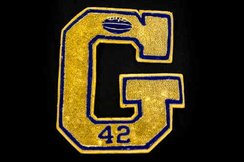 "White and Blue ""G"" #42 Football Letter Patch"