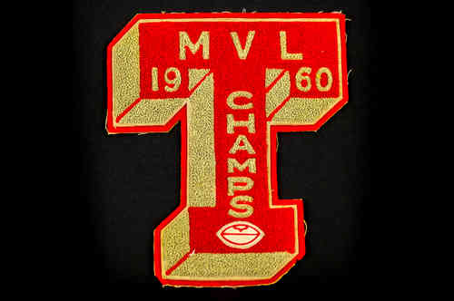 "Red and Grey ""T"" Patch with 1960 M V L Champs"