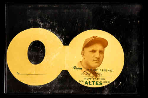 "1920's ""Bill Rogell"" Autographed Baseball Greeting Card/Altes Beers Promo"