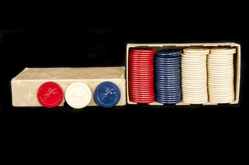 Famous Jockey Club Poker Chips in Box