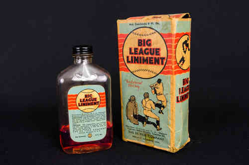 Big League Liniment | De Pree Rubbing Oil Bottle in Box