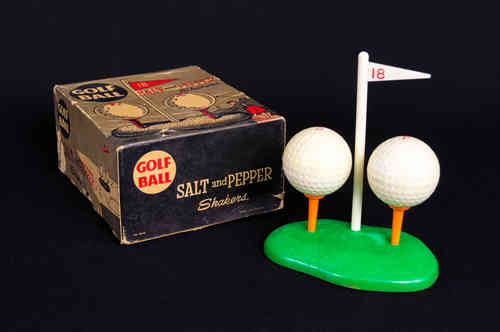 New-In-Box Golf Ball Salt and Pepper Shakers