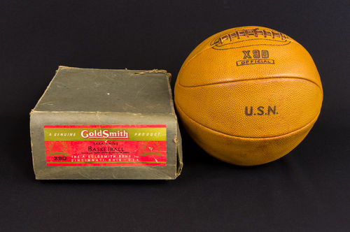 Unused 1940s GoldSmith No X9D Lace-Up USN Basketball with Box