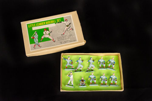 Vintage Metal Little Leaguer Baseball Set Metal Figuerines
