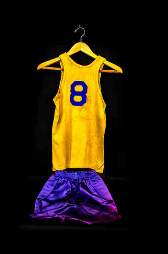 #8 Boy's Medium Purple and Gold Post Basketball Uniform Set