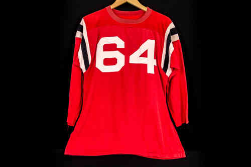 #64 Red 3/4 Sleeve Knit Football Jersey