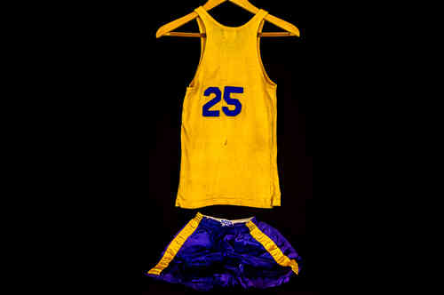 #25 Boys' Large Blue and Gold Post Basketball Uniform Set