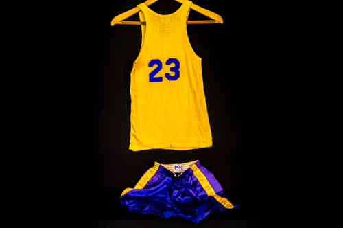 #23 Boys' Large Blue and Gold Post Basketball Uniform Set