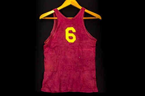 #6 Burgundy and Gold Early Wool and Satin General Brand Basketball Uniform