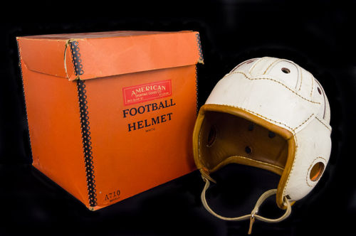 American Sporting Good Co. White Leather Football Helmet in Box