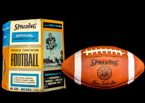"Spalding Official ""Francis [Fran] Tarkenton"" Football in box"