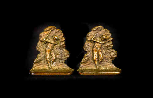 Cast Copper-Colored A.C.W. Co. Golf Player Bookends, Pair