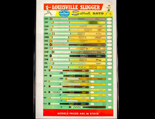 Louisville Slugger Softball Bats Store Display Poster, Framed