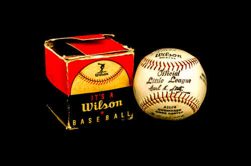 Wilson Official Little League Baseball No A1074 in box with team names
