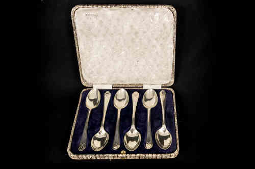 Set-Sterling Silver Teaspoons with Golf Motif in Case