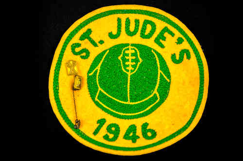 Gold and Green 1946 St. Jude's Volleyball  Patch with lacrosse pin