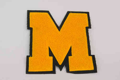 "Gold and Blue ""M"" Varsity Letterman Patch"