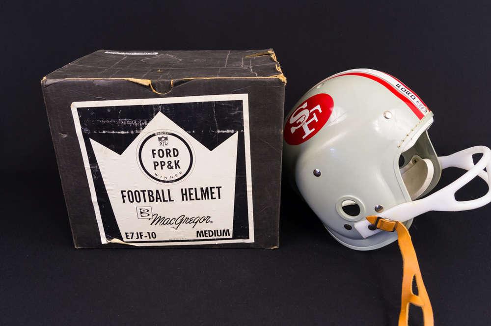 c7f01855 Unused 1960's MacGregor Ford PP&K 49ers Football Helmet in Box