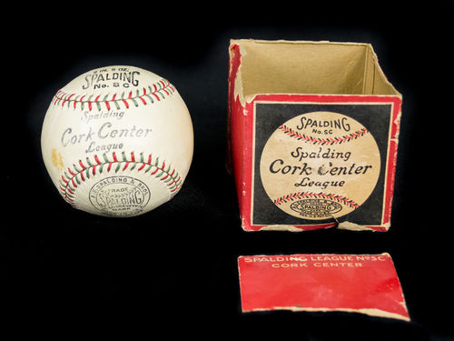 Unused 1920's Spalding SC Cork Center League Red & Green seamed baseball