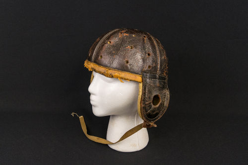 1910-era Rare Spalding Rain Cap Leather Football Helmet