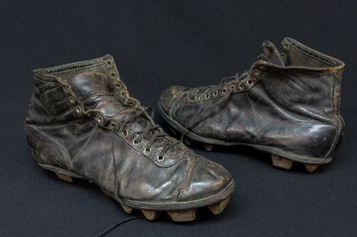 Pair Turn-of-the-Century Stacked Football Cleats