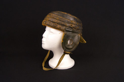 Early 1910s Spalding Leather Flat-top Football Helmet