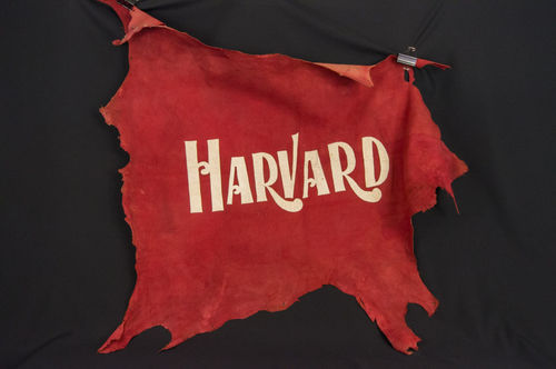 Large Turn of the Century Harvard Crimson Red Leather Hide Wall Hanging