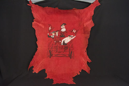 "Large Hand-painted Turn of the Century ""Christie Style"" Harvard Crimson Leather Hide Wall Hanging"