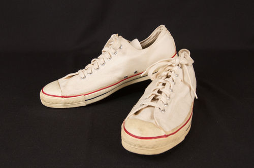 60s White Converse Coach Style Canvas Shoes Size 14