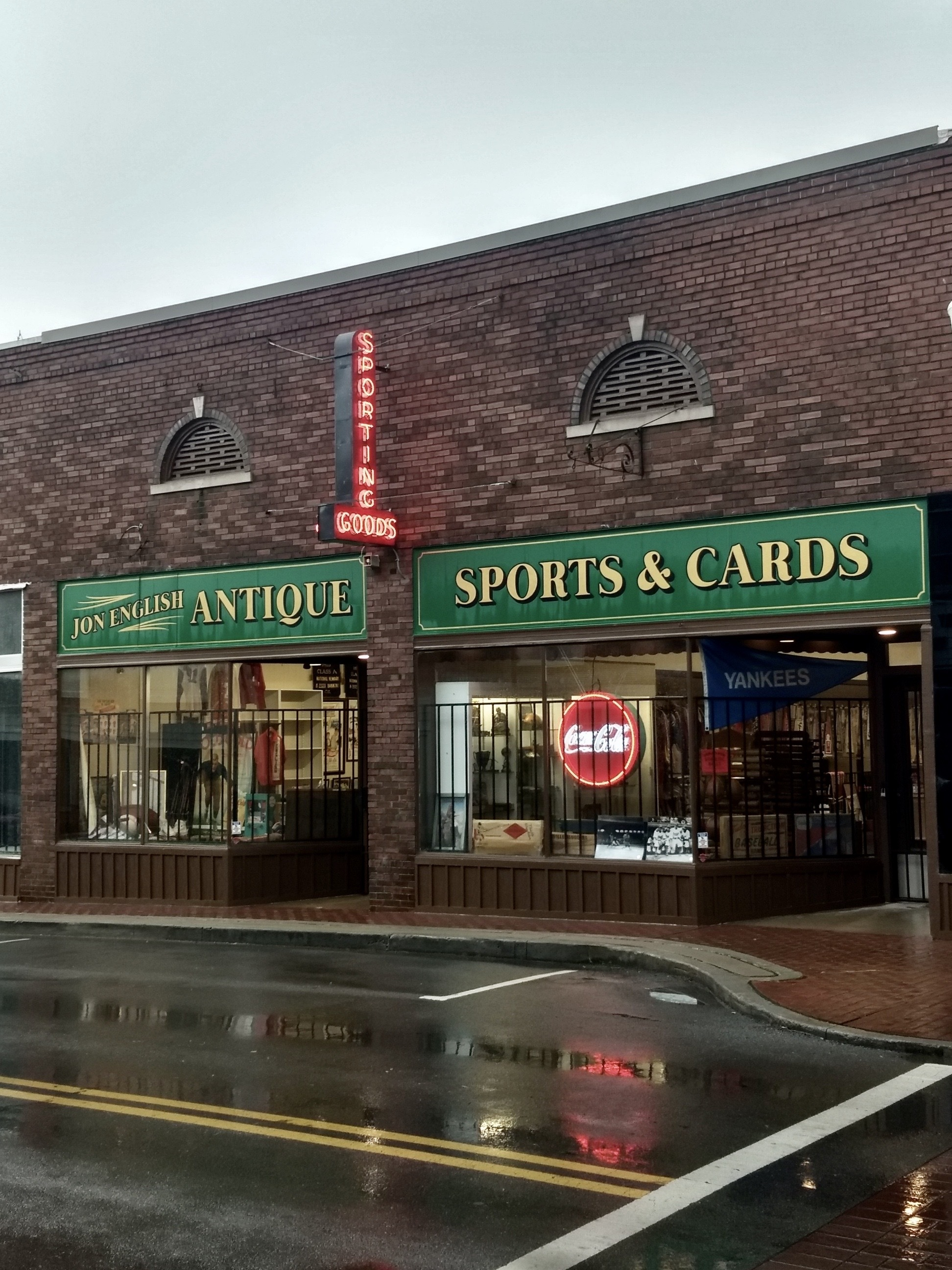 Brick storefront at Jon English Antique Sports and Cards